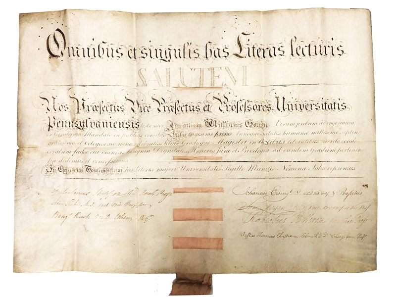 Benjamin Rush, Signer Of The Declaration Of Independence: signed University of Pennsylvania Diploma As