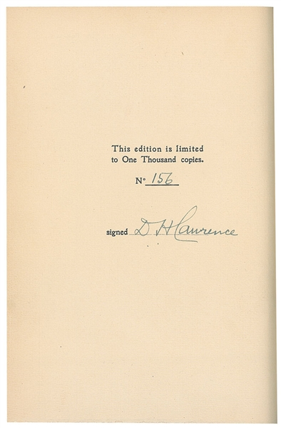 D. H.  Lawrence ; Signed book: Lady Chatterley's Lover