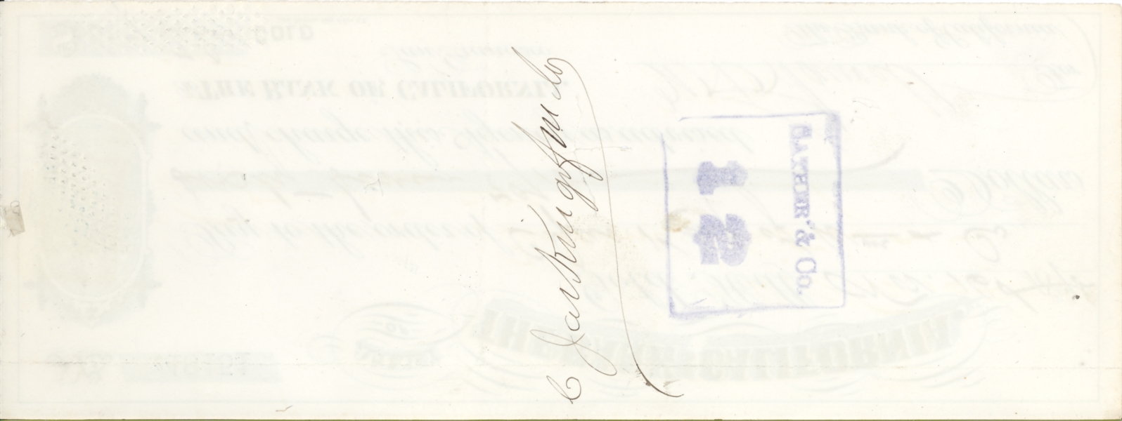 [San Francisco, California] James King of William signed check