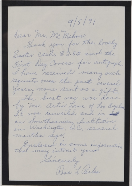 Rosa Parks Signed Famous Photo and  Handwritten Letter