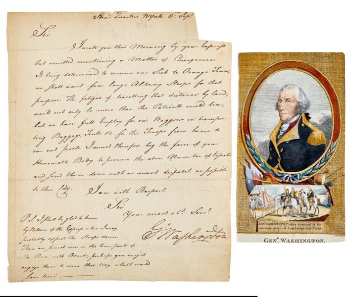 1776 Washington Letter Washington's Concern for his Troops in Long Island, New York
