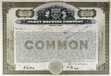 Pabst Brewing Company Common Stock Singed by Gustave G. Pabst