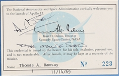 Alan Bean Official Apollo 12 Launch Card Signed
