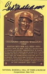 Ted Williams Signed HOF Plaque PostCard