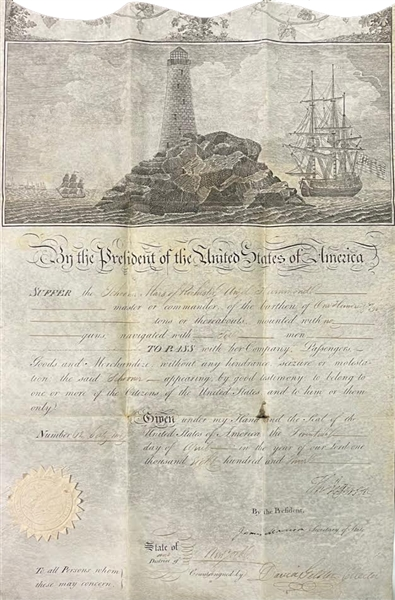 Thomas Jefferson and James Madison Signed Scallop Top Ship Passport