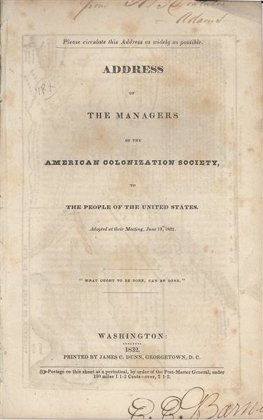Two Rare Pamphlets on Slavery and on Colonization