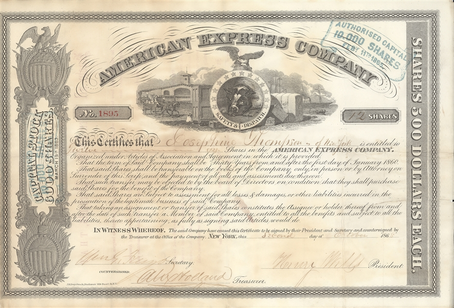 Henry Wells & James Fargo Signed Stock
