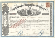 1866 American Express Stock Certificate Signed by Wells and Fargo  --- American Merchants Union Express Company Stock
