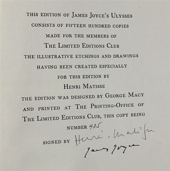 Ulysses Signed by James Joyce and  Henri Matisse Limited Edition